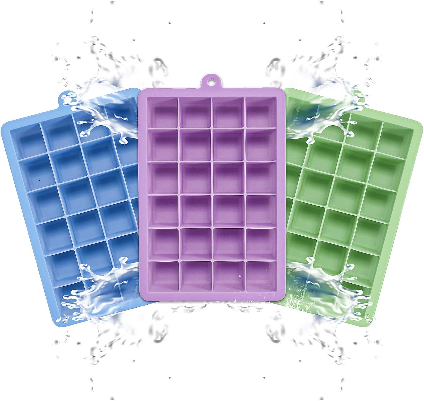 3 Pack Ice Cube Trays, 24 Cubes Easy Release Small Ice Cube Trays with Lids For Whiskey Storage, Cocktail, Beverages, Dishwasher Safe, BPA Free