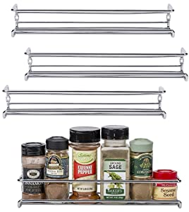 "Unum Chrome Wall-Mount/Cabinet Door Spice Rack (x4) – Single Tier Hanging Spice Organizers/Racks - Pantry, Kitchen Wall/Cupboard, Over Stove, and Closet Door Storage – 11 3/8""L x 3""D x 2""H"