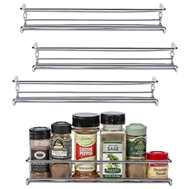 Unum Chrome Wall-Mount/Cabinet Door Spice Rack (x4) – Single Tier Hanging Spice Organizers/Racks for Pantry, Kitchen Wall/Cupboard, Over Stove, and Closet Door Storage – 11 3/8 L x 3 D x 2 H
