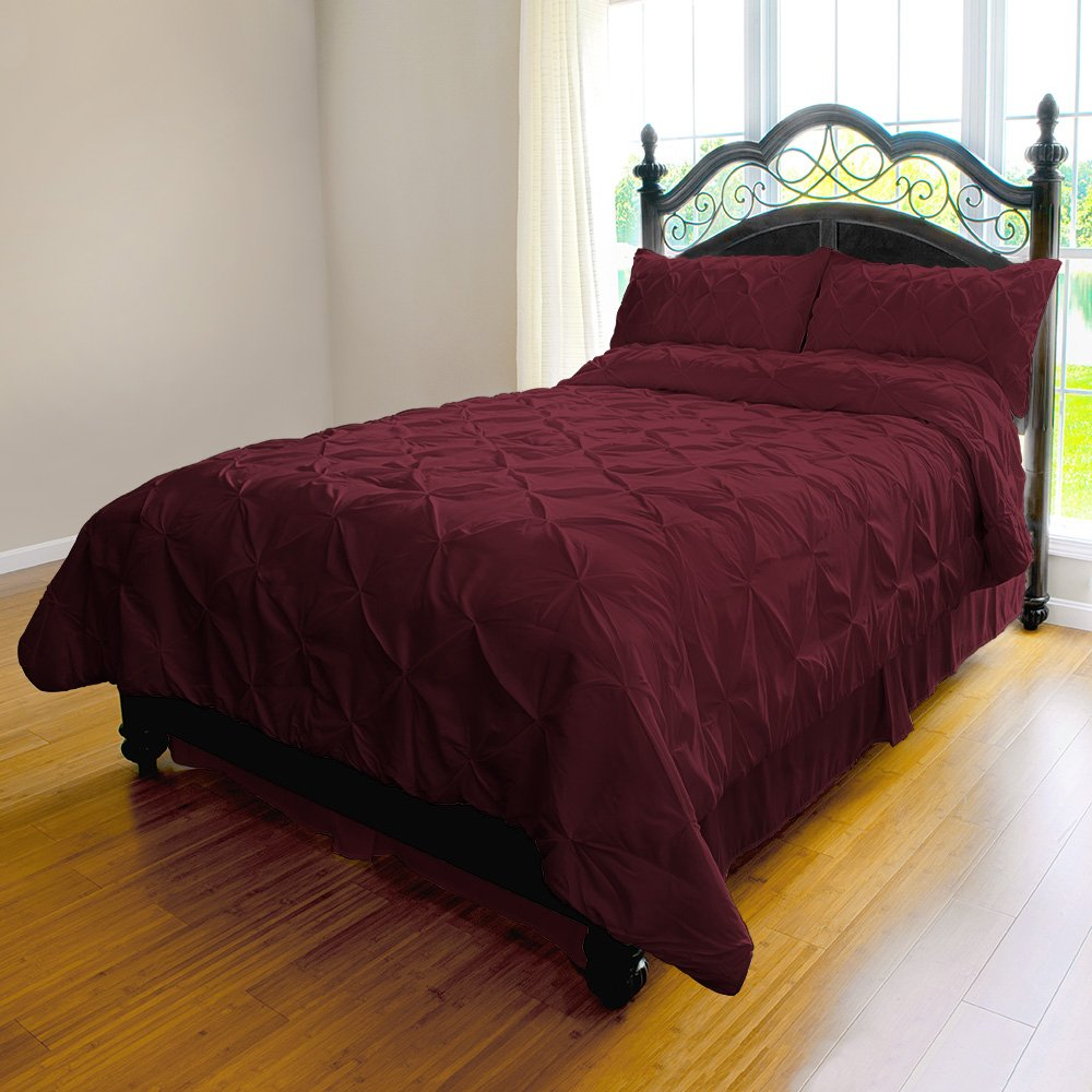 Pinch Pleat Duvet Cover - 3-Piece Microfiber Set by ExceptionalSheets, Full/Queen, Burgundy