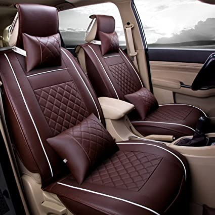 Fly5D 2Pcs Universal Fit PU Leather Auto Car Seat Cover Cushion Front Seat  Cover For Honda
