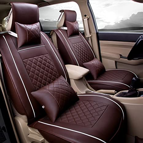 Microfiber Leather Universal Fit Car Seat Covers Full Set 5 Seats Coffee 13PCS