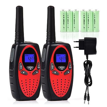 Tyhbelle 2er Funkgerät Walkie Talkie für Kinder PMR446 lizenzfrei 8 Kanäle mit LCD-Display (2er-Rot (mit akku und Ladekabel))