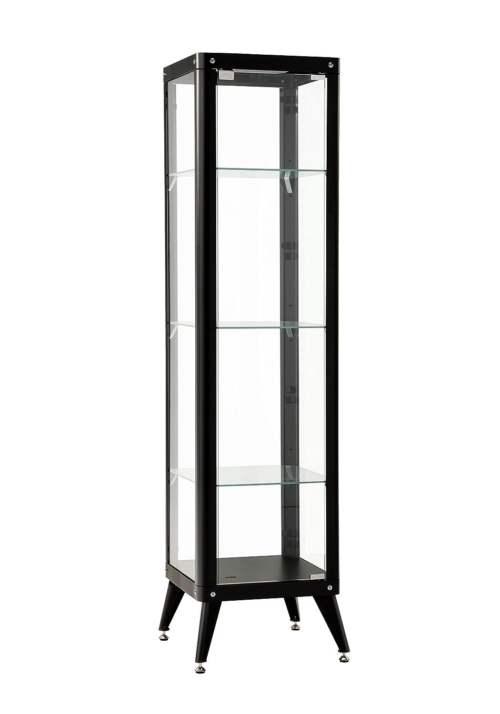 Furniture 247 - Vetrina alta con telaio in metallo e 3 ripiani in vetro, bianco SourcebyNet 60321098 White
