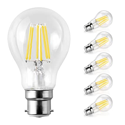 Bombilla LED de 8 W, Ascher B22, Daylight White 6000K, B22, 8.00