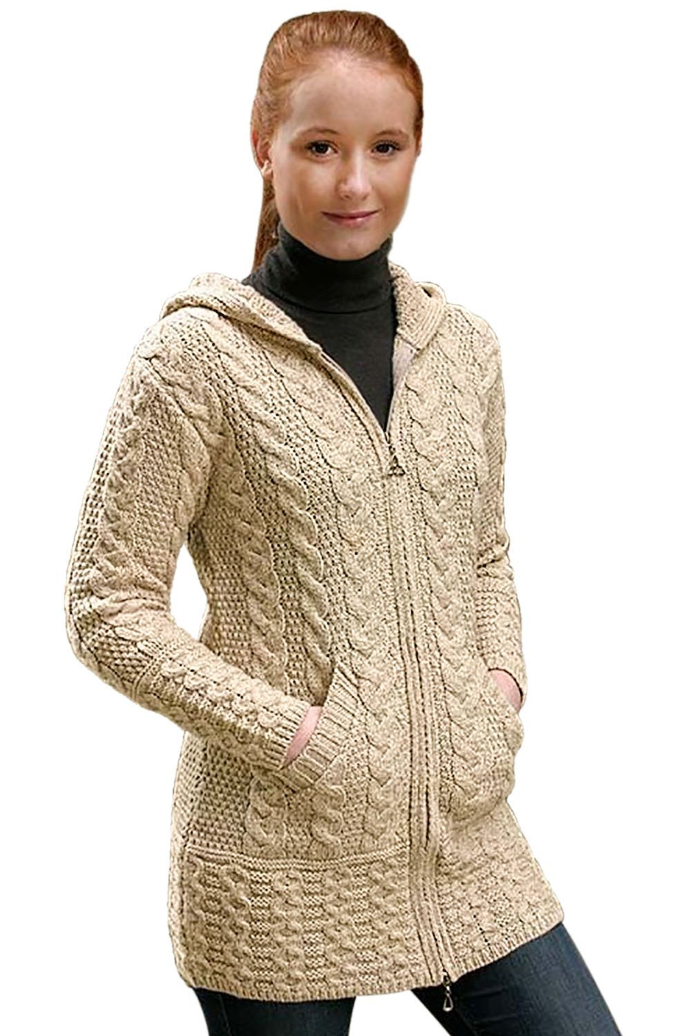 100% Irish Merino Wool Ladies Hooded Aran Zip Sweater Coat, Parnsip, Extra Large