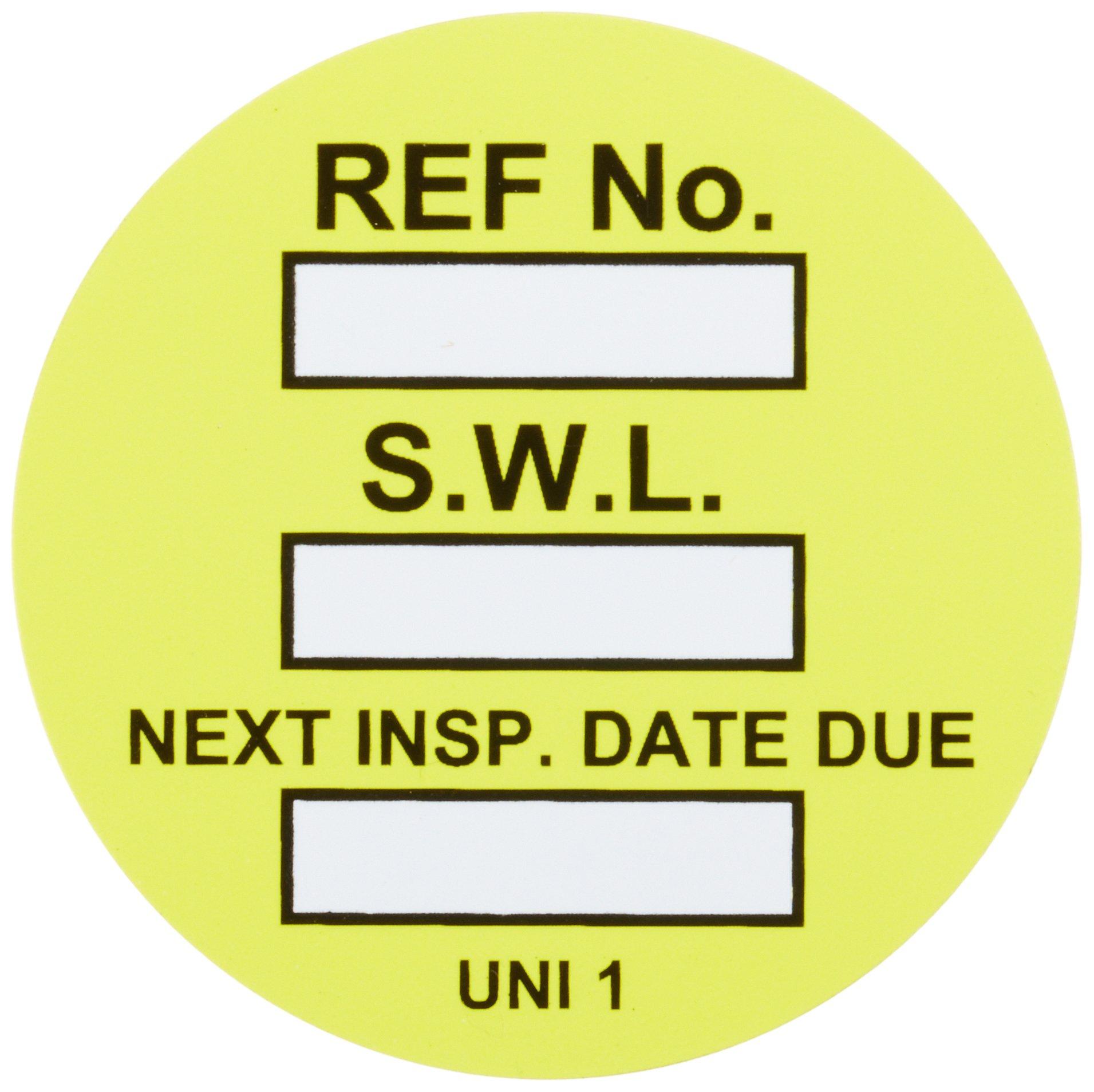 Brady  UNI-UNI YELLOW, Yellow Universal Tag INSERTS SAFE WORK LOAD 100/Package YLW (100 Tags)