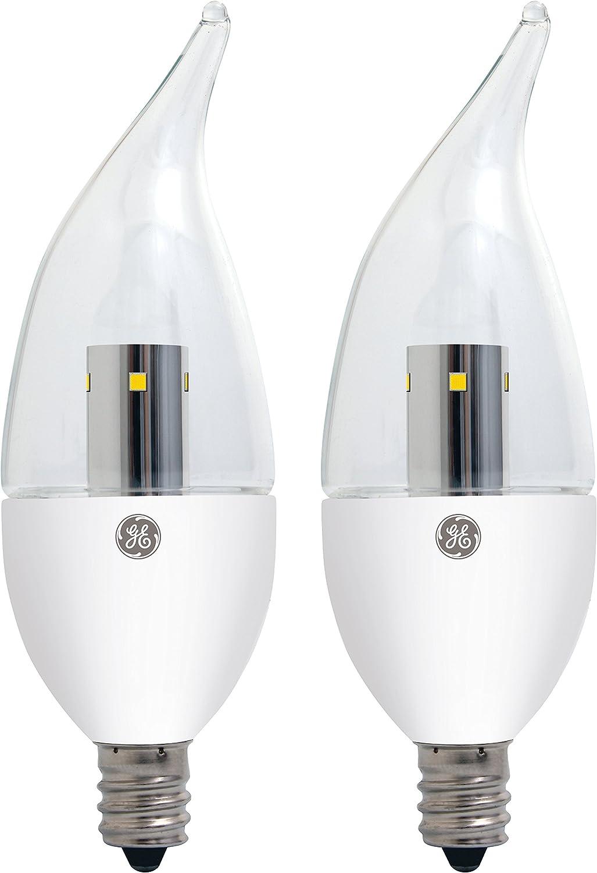 GE Lighting 22997 LED 3.5-Watt (25-watt replacement) 170-Lumen Bent Tip Light Bulb with Candelabra Base, Clear Soft White, 2-Pack