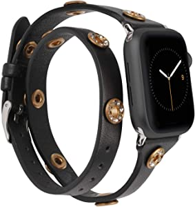 Moolia Double Wrap Band Compatible with Apple Watch Bands 40mm 38mm Women, Slim Leather Double Tour iWatch Bands with Bling Studs Straps Bracelet for Apple Watch Band Series 6 SE 5 4 3 2 1, Black