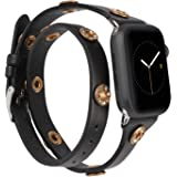 Moolia Double Wrap Band Compatible with Apple Watch Bands 44mm 42mm Women, Slim Leather Double Tour iWatch Bands with Bling S