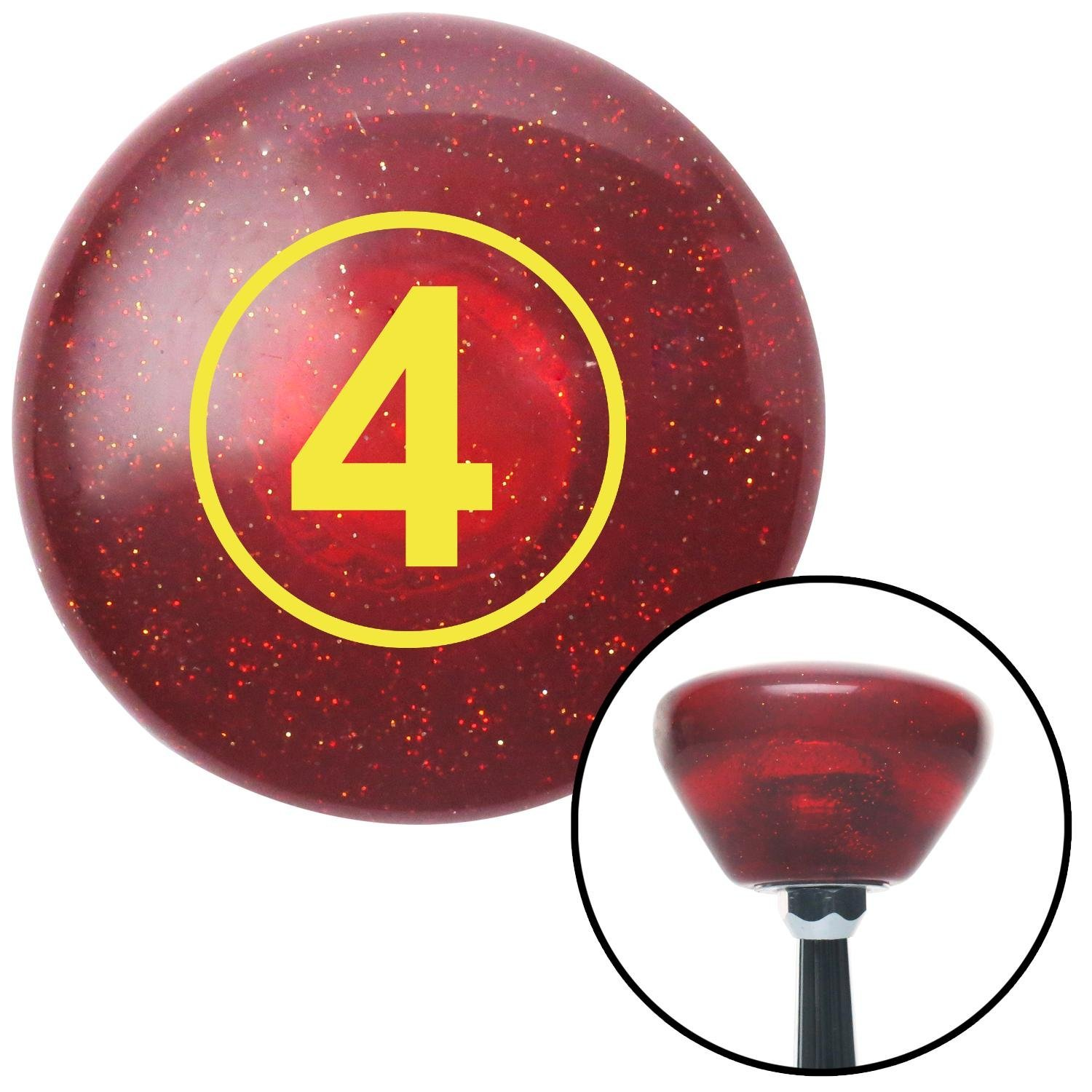 American Shifter 193540 Red Retro Metal Flake Shift Knob with M16 x 1.5 Insert Yellow Ball #4