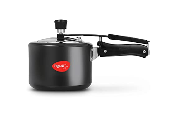 Pigeon by Stovekraft Titanium Induction Base Inner Lid Hard Anodised Aluminium Pressure Cooker, 3 litres, Black Pressure Cookers at amazon