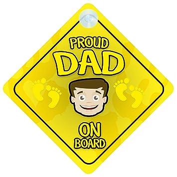 Amazon.com: Orgulloso papá a bordo señal de coche nuevo bebé ...