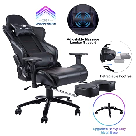 Incredible Killabee Big And Tall 350Lb Massage Gaming Chair Metal Base Adjustable Massage Lumbar Cushion Retractable Footrest High Back Ergonomic Leather Pdpeps Interior Chair Design Pdpepsorg