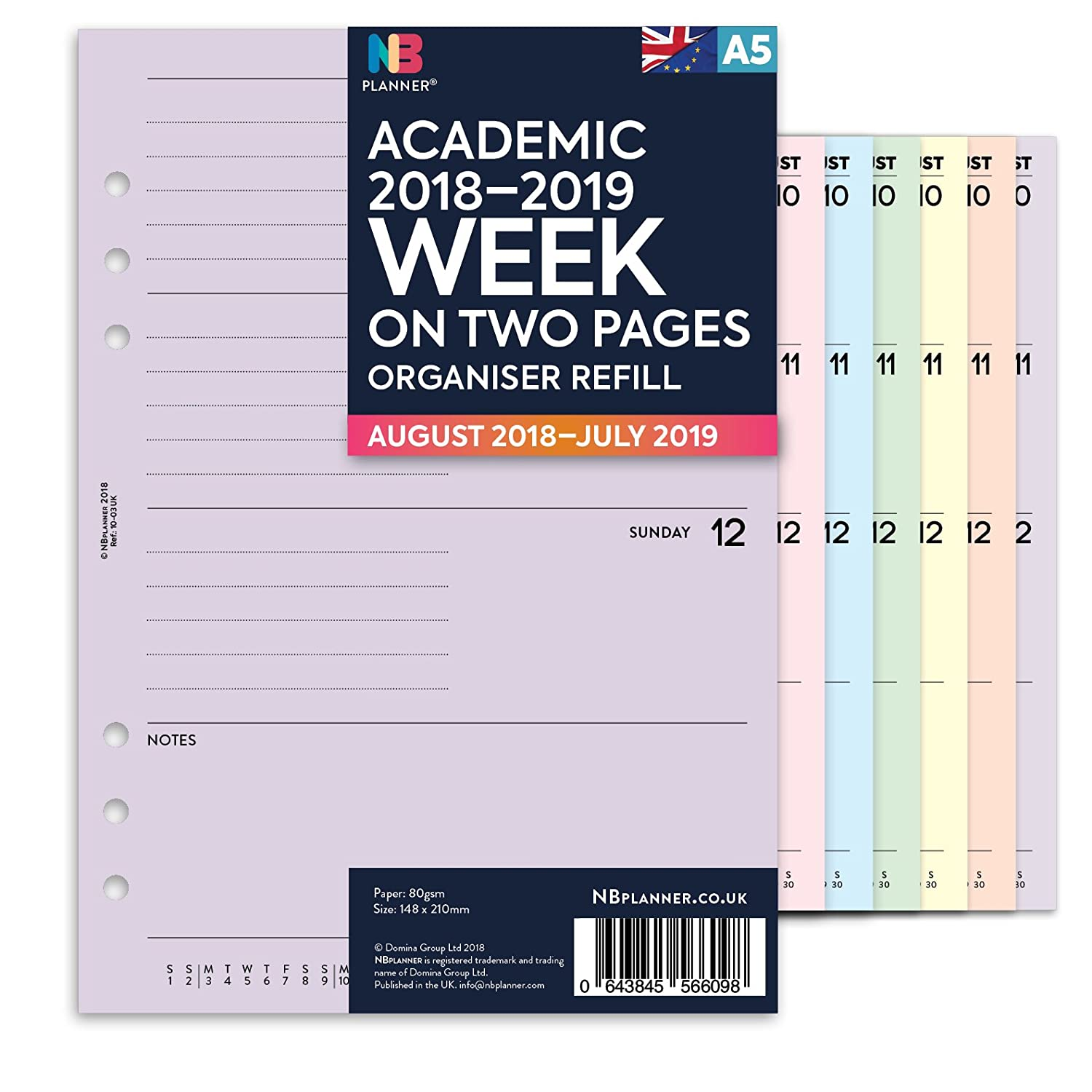 NBplanner® Academic 2018–2019 WEEK on TWO PAGE MID YEAR PLANNER Filofax A5 Compatible English diary organiser refill insert coloured (Lilac) Domina Group Ltd