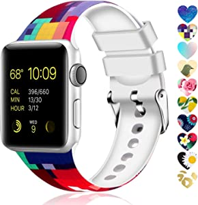 Moretek Colorful Band Compatible for Apple Watch 38mm 42mm 40mm 44mm,Soft Silicone Sport Replacement Strap for iWatch Series 5 4 3 2 1, Nike+, Edition Women Men (Flower 3, 42/44mm)