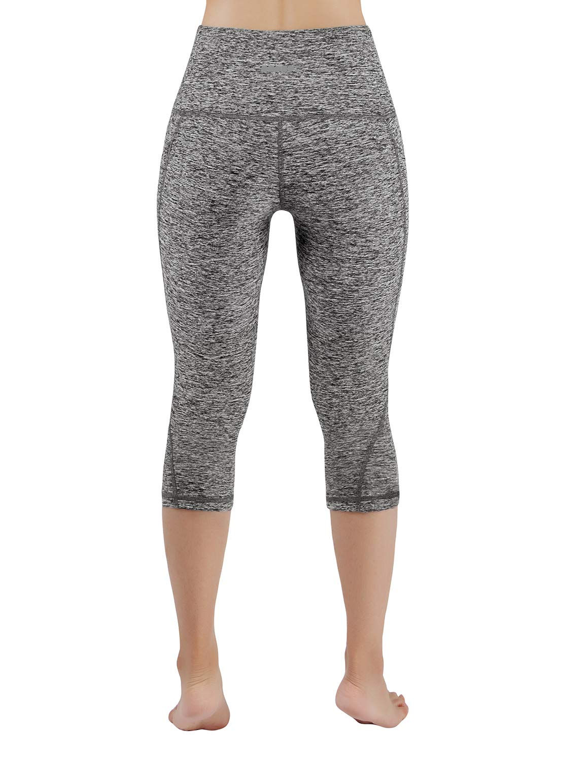 ODODOS High Waist Out Pocket Yoga Capris Pants Tummy Control Workout Running 4 Way Stretch Yoga Leggings,GrayHeather,X-Small by ODODOS (Image #3)