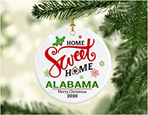 Christmas Decoration Tree Ornament State - Home Sweet Home Alabama Merry Christmas 2020 - Xmas Gift for Family Best Friend Mom Dad - MDF Plastic Ornament 3 Inches White
