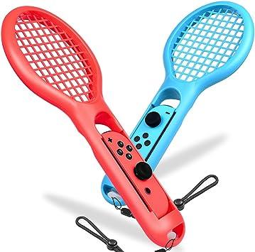 BEBONCOOL - Juego de 2 Raquetas de Tenis para Nintendo Switch Joy-con Controller, con Tirantes para Juegos de Somatosensory como Mario Tennis Aces (Azul y Rojo): Amazon.es: Electrónica