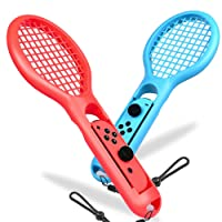 BEBONCOOL Tennis Rackets for Nintendo Switch Joy-Con Controller, 2 Pack Switch Joy-Con Grips with Handle Straps for Somatosensory Games like Mario Tennis Aces (Blue and Red)