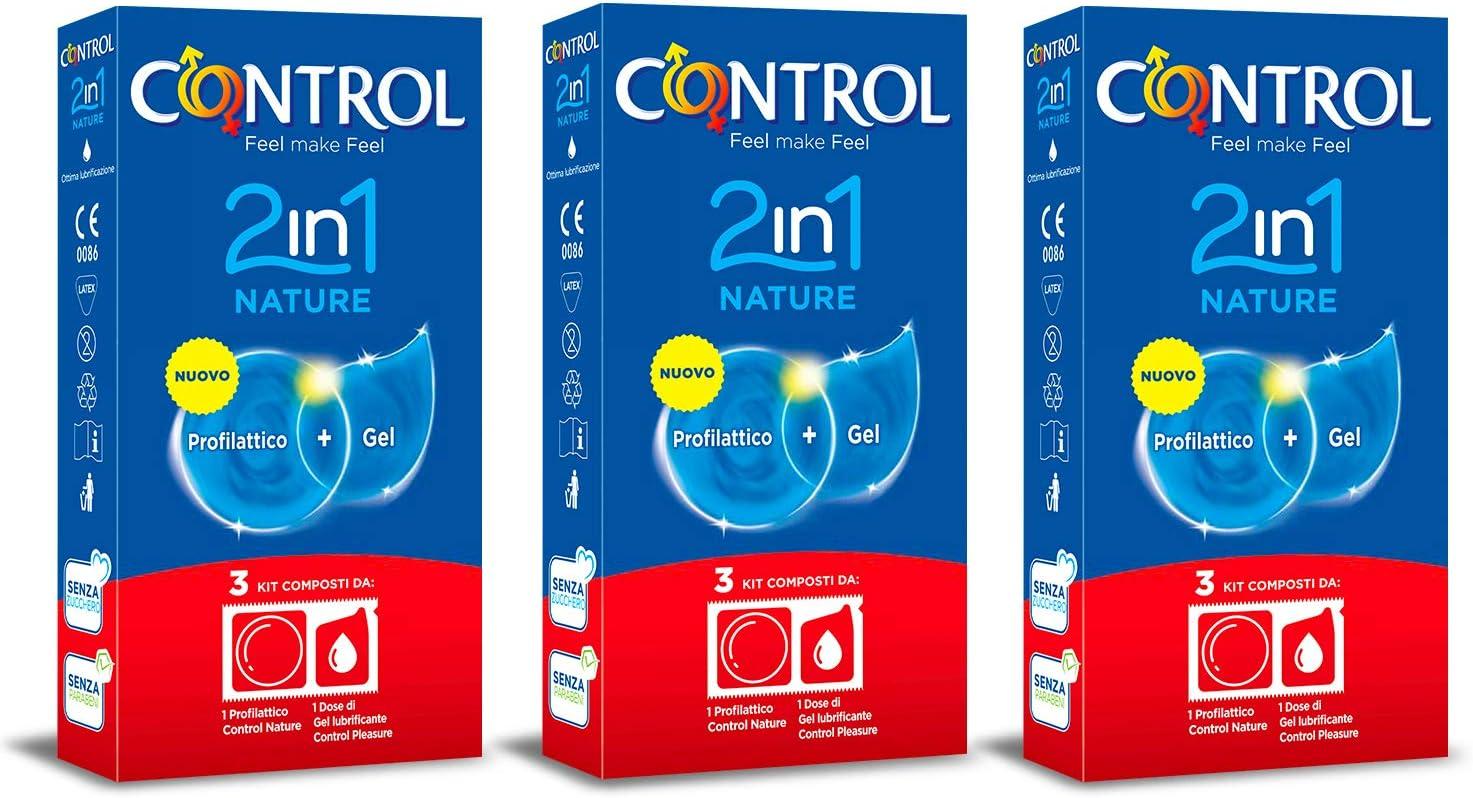 CONTROL Kit de 3 cajas de preservativos 2in1 Nature. Cada caja contiene 3 kits con un preservativo Control Nature y una dosis de gel lubricante Control Nature