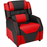 AmazonBasics, Black and Red Kids/Youth Gaming Recliner with Headrest and Back Pillow, 5+ Age Group