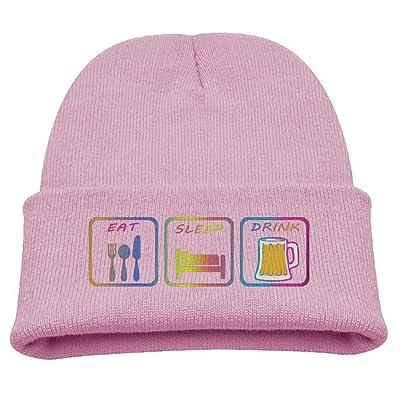 RFYSQC WPOSG Eat Sleep Drink Drink Lover Rainbow Boys Girls Child Cute Knit Beanies Hats Skull Caps Warmer Black