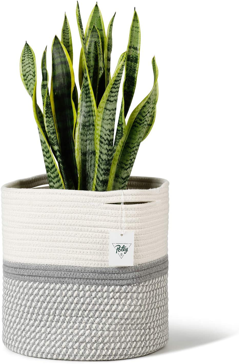 POTEY 700603 Cotton Rope Woven Plant Basket Modern Woven Basket for 11