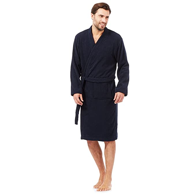 Mens Luxury 100% Cotton Towelling Bath Robe Dressing Gown Wrap ...