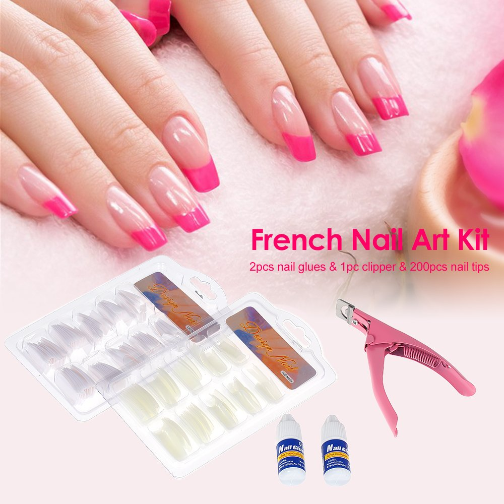 Anself 200pcs Acrylic French Tips Nail Art Glue Cutter False Nail ...