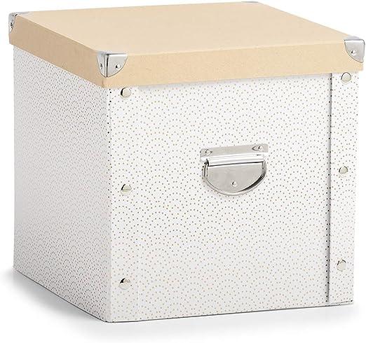 Caja de cartón para bolas de Navidad., blanco y dorado, ca. 30 x ...