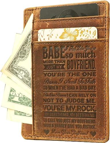 Slim RFID Blocking Wallet Personalized Leather Wallet Mens Minimalist Wallet