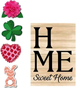 Evergreen Flag Spring Home Sweet Home Interchangeable Icon Burlap Garden Flag - 13 x 18 Inches Fade and Weather Resistant Outdoor Decoration for Homes, Yards and Gardens