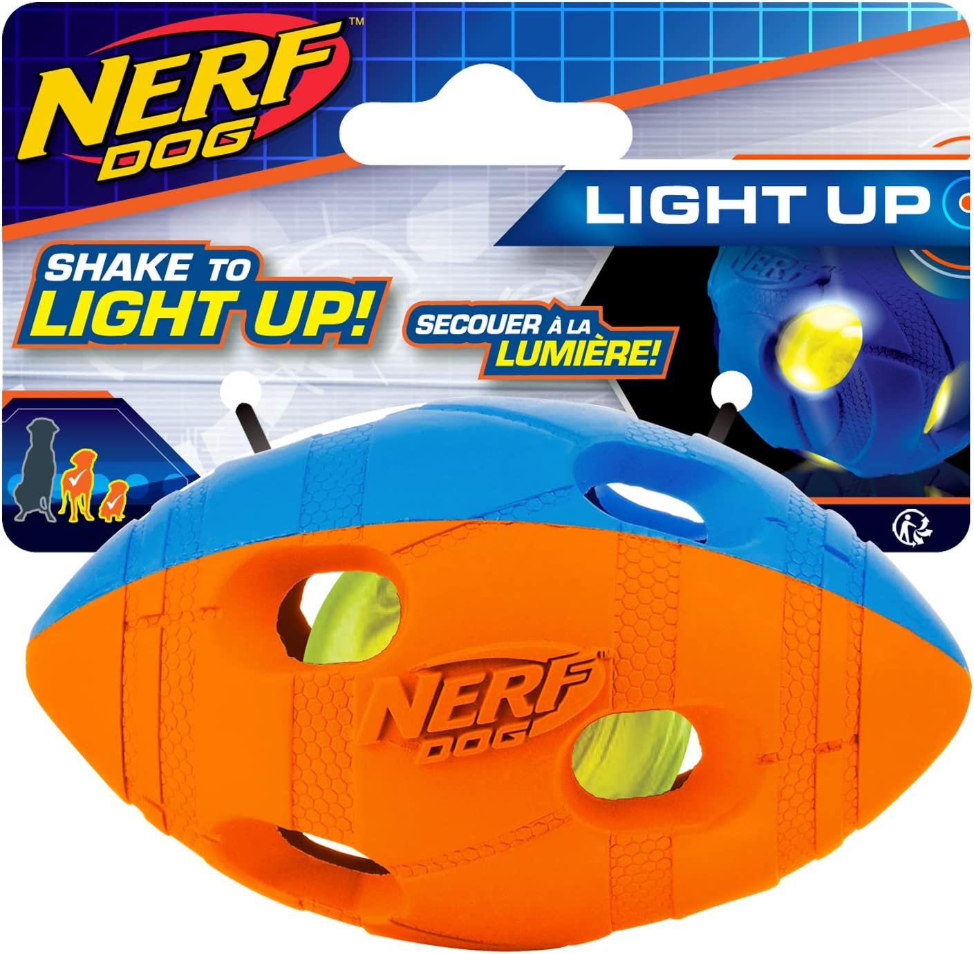 Nerf Dog Bash Football Dog Toy, Lightweight, Durable and Water Resistant, 4 Inch Diameter for Small/Medium/Large Breeds, Single Unit, Blue/Orange