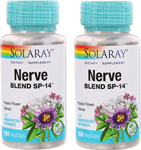 Solaray Nerve Blend SP-14 with Passion Flower, Valerian and Homeopathic Nutrients 100 VegCaps Pack of 2