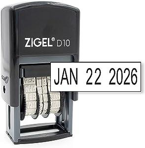 ZIGEL D10 Office Date Stamp - Self Inking Date Stamp - Black