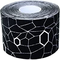 TheraBand Kinesiology Tape, Physio Tape for Pain Relief, Muscle Support, and Injury Recovery, Standard Roll with XactStretch Application Indicators, 2 Inch x 16.4 Foot Roll, Black/White