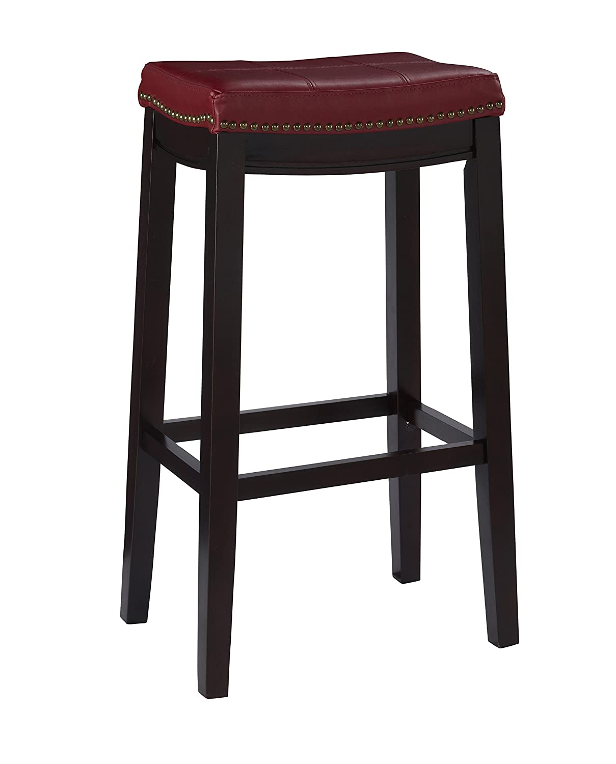 Linon Claridge Bar Stool, 32 x 18.75 x 13 , Red