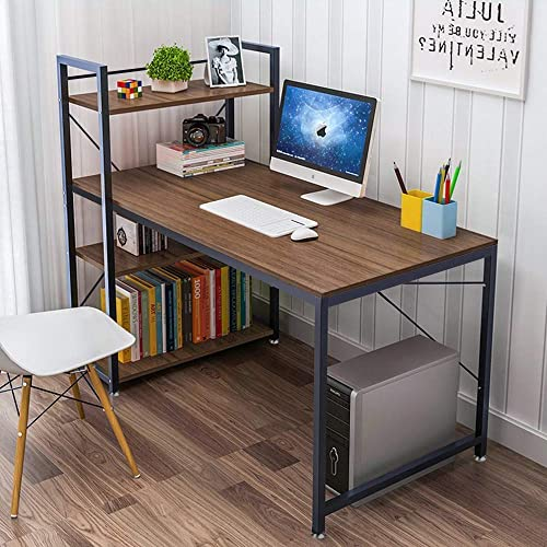 Tower Computer Desk with 4 Tier Shelves – 47.6 Multi Level Writing Study Table with Bookshelves Modern Steel Frame Wood Desk Compact Home Office Workstation Walnut