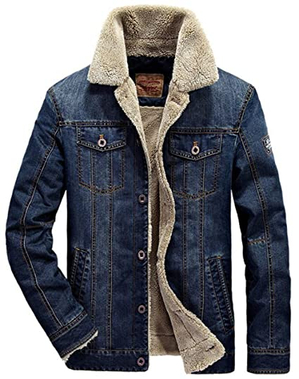 69a964e1980 JEWOSOR Mens Plus Cashmere Winter Warm Fur Collar Denim Jacket Windbreaker  Outwear Parka Coat  Amazon.co.uk  Clothing