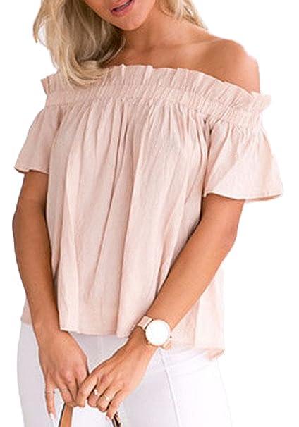 Verano Blusa Mujer Casual Sweatshirt Suelto Colores Lisos Plisada Camisas Tops Moda Blouses Pullover Cuello Barco