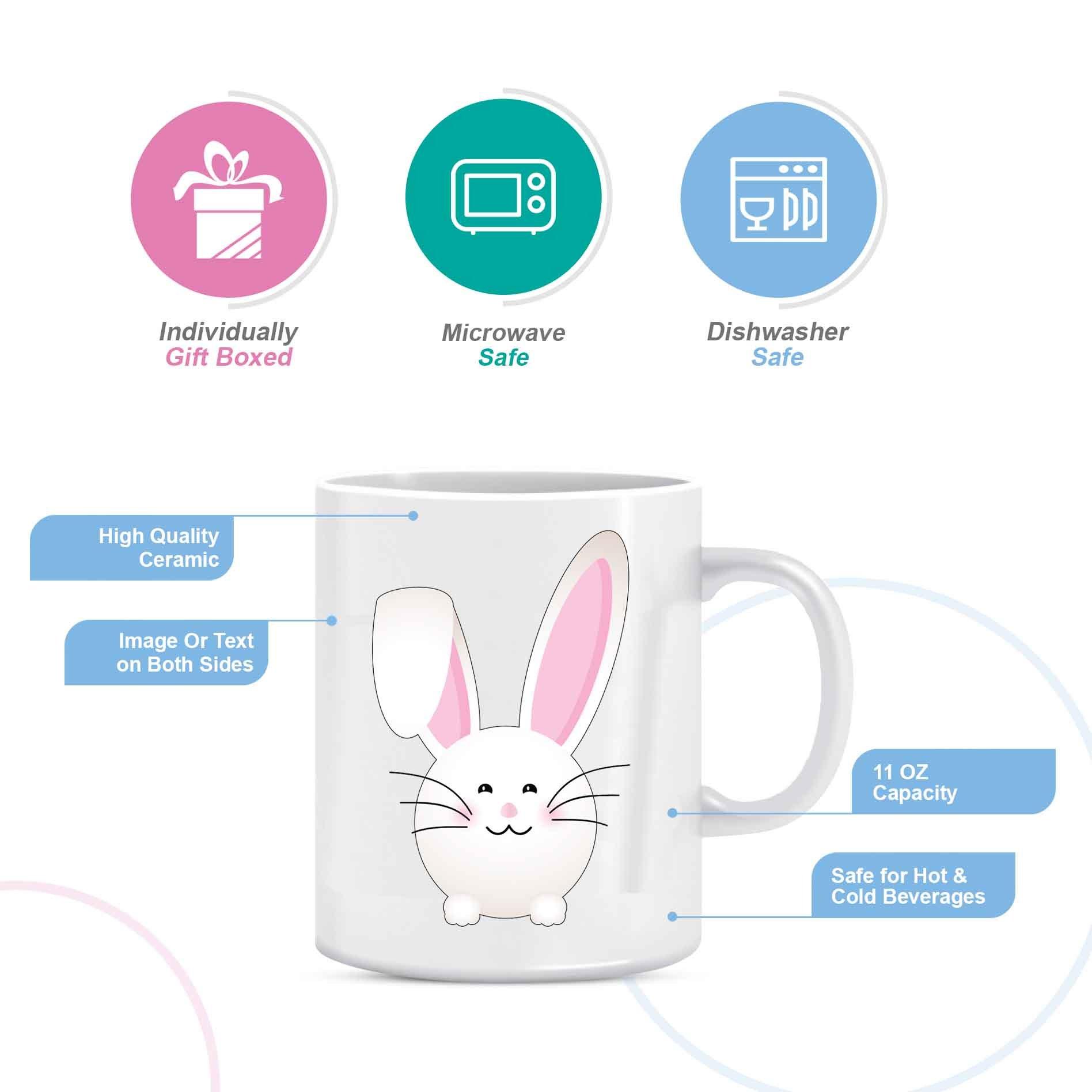 Happy Easter Folded Pink Ear Bunny - Coffee Mug in Blue Ribbon Gift Box - 11 oz