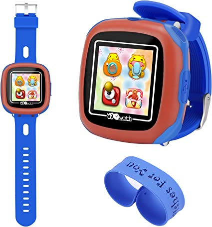 AOLEE Kids Smart Watch Games Timer Alarm (NEW)Clock Camera Pedometer Touchscreen-Bonus Wristband(Blue)