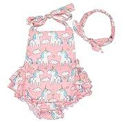 Slowera Baby Girls 2pcs Sets Cotton Ruffles Romper Outfits Clothes (M:12Months, Pink Unicorn)