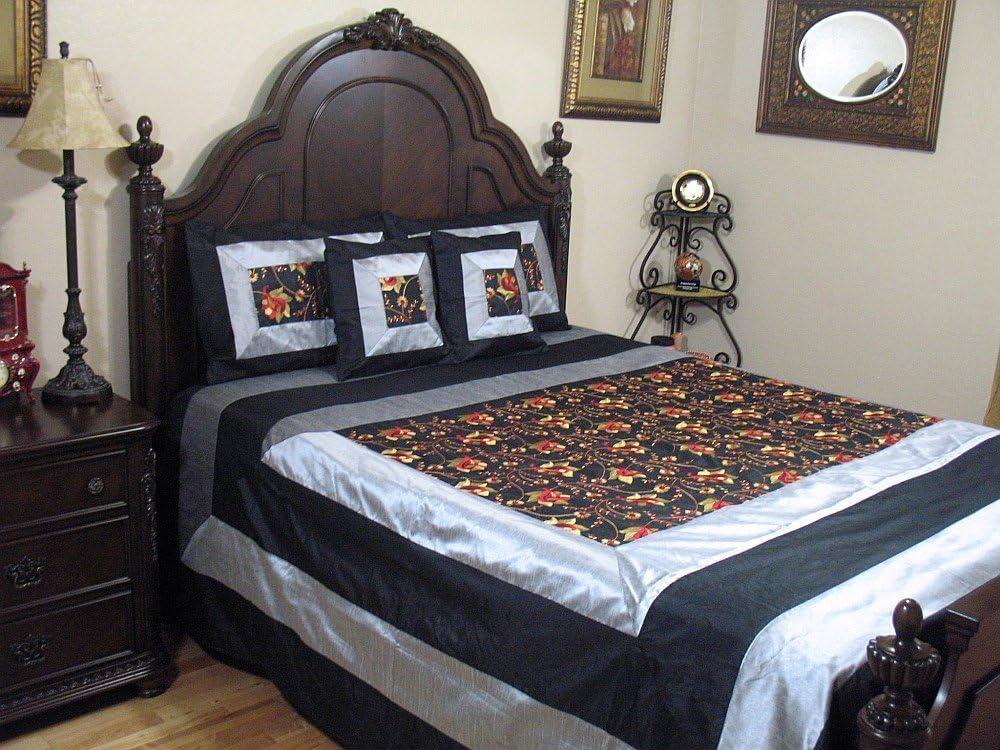 NovaHaat Black Designer Linens Bedding Bedspread Set - Embroidered Indian Elegant Bedroom Decor ~ Queen