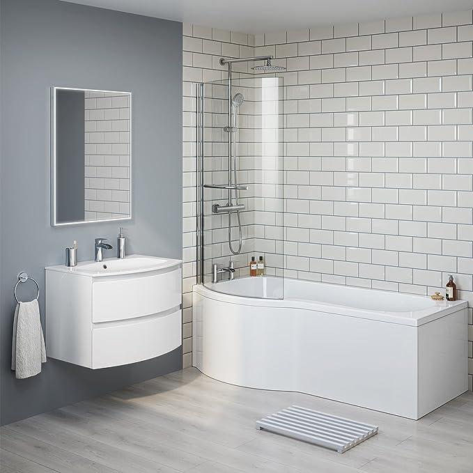 1700 mm mano izquierda P-en la bañera con mampara de ducha baño ...