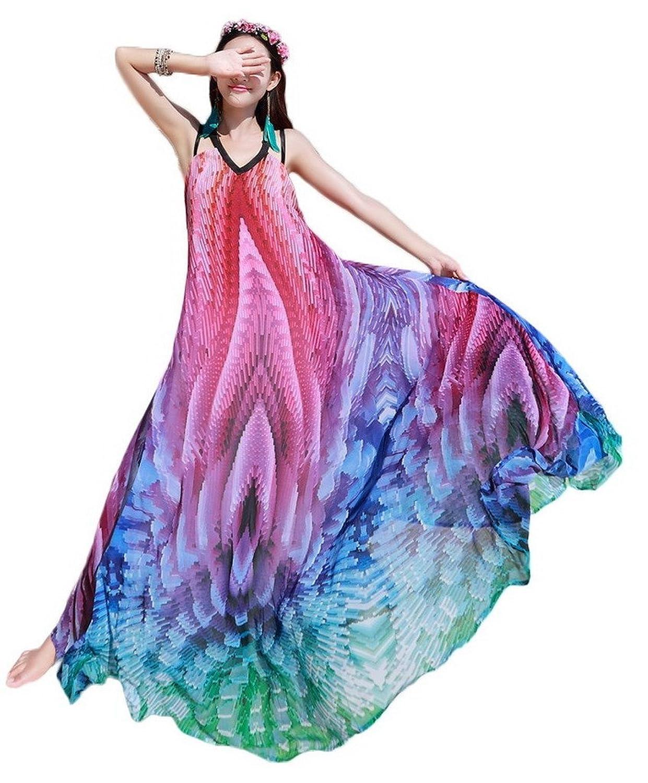 Bigood Farbe Verbindung Damen Mode Strandkleider Langes Kleid Korallenrot