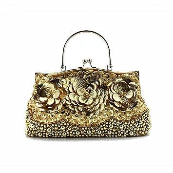 Amazon.com: Oro mujer lentejuelas con abalorio bolso de mano ...