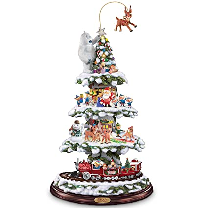 rudolph and friends animated christmas town express train tabletop christmas tree by the bradford exchange - Rudolph And Friends Christmas Decorations