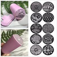 Frenshion 10 Unids Random Differernt Diseño Stamping Art Nail Stamping Kit Set Esmerilado Mango Plantilla Imagen Placa Nail Art Mold Nail Tool Color Rosa